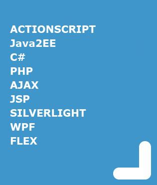 ACTIONSCRIPT, JAVA, C#, PHP, AJAX, JSP, SILVERLIGHT, WPF, FLEX
