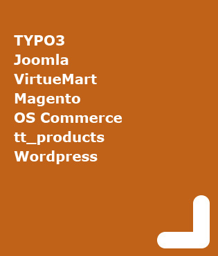 Content Management Systems, Online Shop, Blog, Joomla, Typo3, Magento, OS Commerce, tt_products, Wordpress
